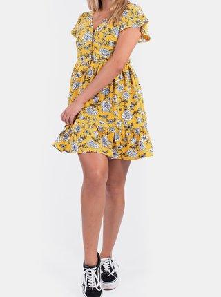 Žlté kvetované šaty s gombíkmi Culito from Spain