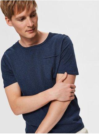Modré basic tričko s příměsí lnu Selected Homme