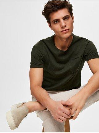 Khaki basic tričko s příměsí lnu Selected Homme