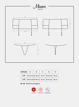 Podvazkový pás Miamor garter belt - Obsessive černá