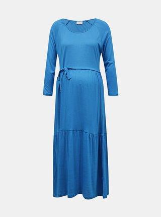 Modré těhotenské midišaty se zavazováním Mama.licious Simantha