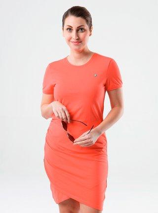 Oranžové púzdrové prekladané šaty LOAP