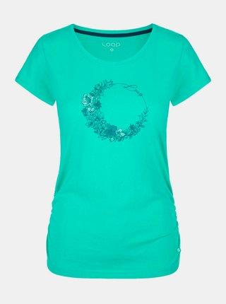 Tyrkysové dámské tričko s potiskem LOAP