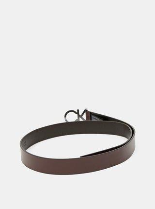 Calvin Klein hnědý kožený pánský pásek CK Enamel