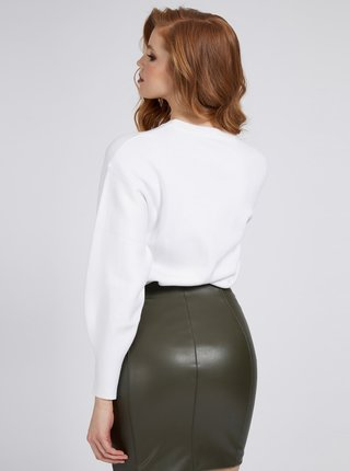 Guess biele sveter Front Logo Comfort Fit