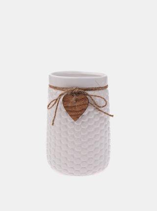 Bílá váza s ozdobou Dakls