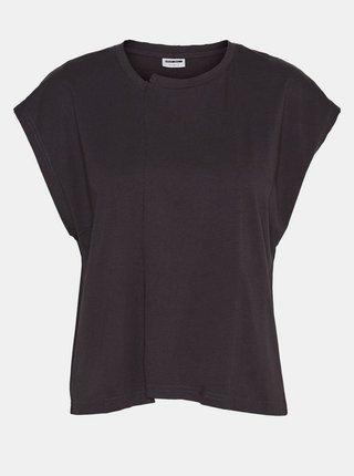 Čierne voľné tričko Noisy May Daphni