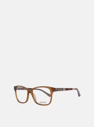Hnedé dámske vzorované okuliarové obrúčky Guess