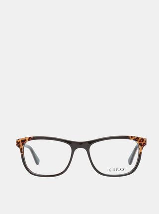 Hnědo-černé dámské vzorované obroučky brýlí Guess