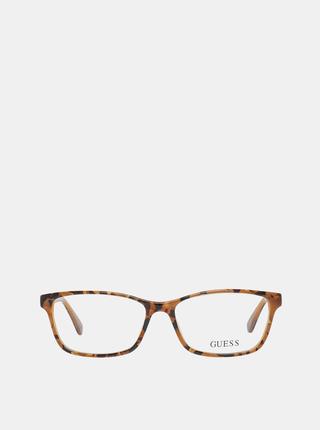 Čierno-hnedé dámske vzorované okuliarové obrúčky Guess
