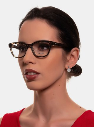 Hnědé dámské vzorované obroučky brýlí Guess