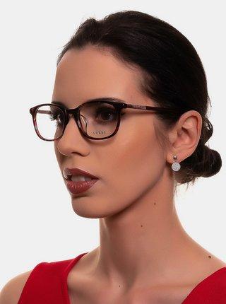 Vínové dámske vzorované okuliarové obrúčky Guess