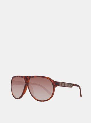 Hnědé unisex vzorované sluneční brýle Guess