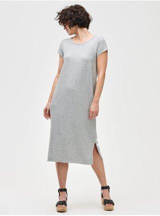 Šedé dámské šaty midi t-shirt dress