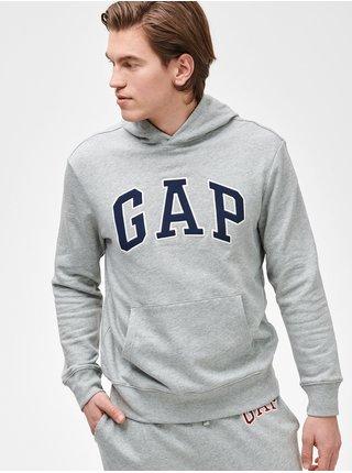 Šedá pánská mikina GAP Logo arch hoodie