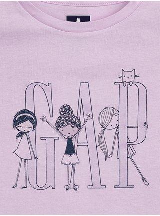 Fialové holčičí dětské tričko GAP Logo 5 mid rise khaki shorts