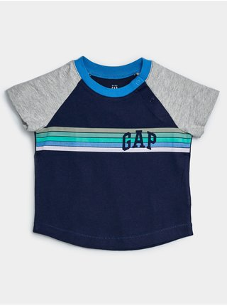 Modré klučičí baby tričko GAP Logo arch raglan tee