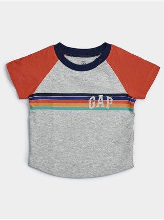 Baby tričko GAP Logo arch raglan tee Šedá