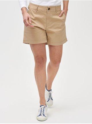 Béžové dámské kraťasy 5 mid rise khaki shorts
