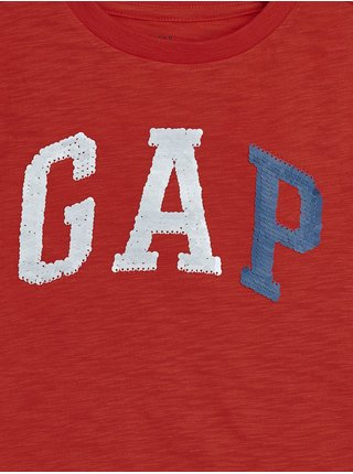 Červené klučičí dětské tričko GAP Logo arch int t-shirt