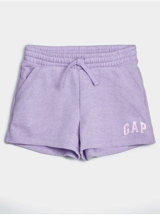 Fialové holčičí dětské kraťasy GAP Logo arch shorts