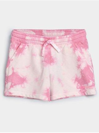 Růžové holčičí dětské kraťasy GAP Logo arch short