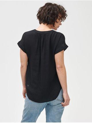 Top print v neck Čierna