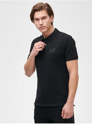 Černé pánské polo tričko GAP Logo pique