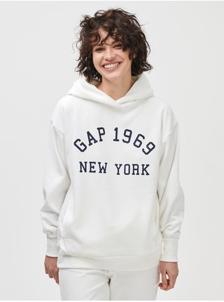 Bílá dámská mikina GAP Logo 1969 New Yorc city tunic hood