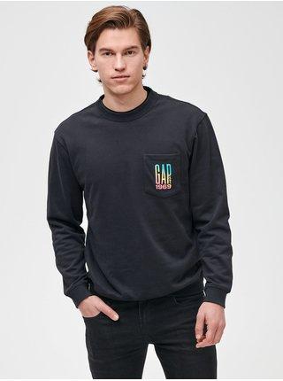 Černá pánská mikina GAP Logo pocket crewneck sweatshirt