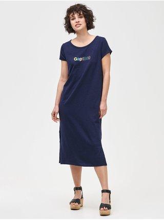 Modré dámské šaty GAP Logo 1969 slub midi dress
