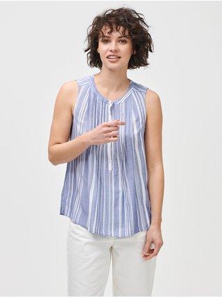 Modrý dámský top pintuck sleeveless