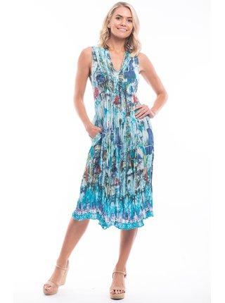 Orientique modré letní midi volné šaty Torre Del Oro