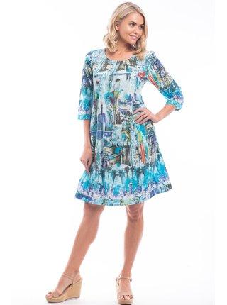 Orientique modré volné šaty Torre Del Oro s barevnými motivy