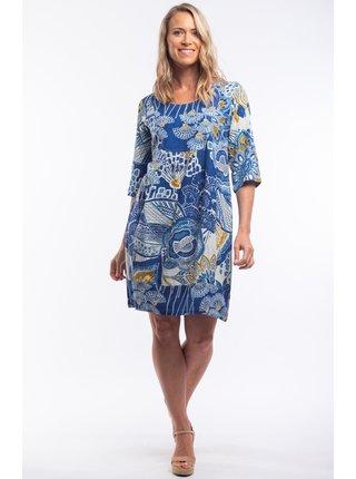Orientique modré volné šaty Seville se vzory
