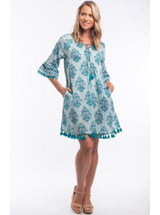 Orientique petrolejové letní šaty Porto se vzory