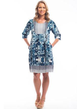 Orientique modro-bílé volné šaty Alcazar