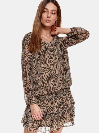 Hnedé vzorované šaty s volánmi TOP SECRET
