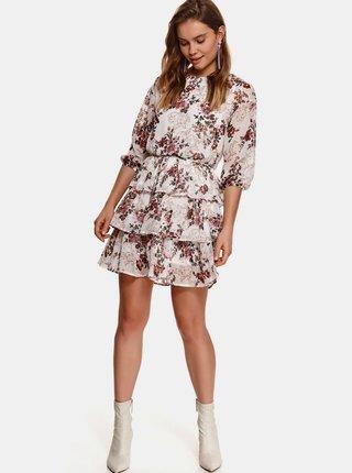Vínovo-biele kvetované šaty s volánmi TOP SECRET