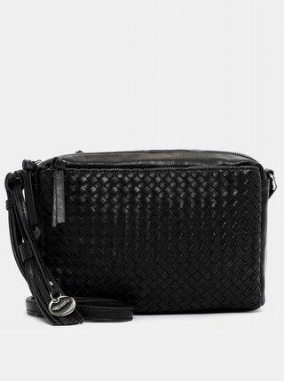 Čierna prešívaná crossbody kabelka s ozdobným strapcom Tamaris