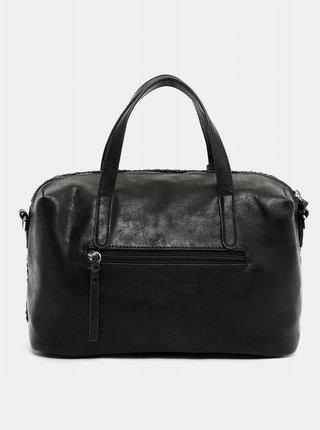 Čierna vzorovaná veľká kabelka s ozdobným strapcom Tamaris