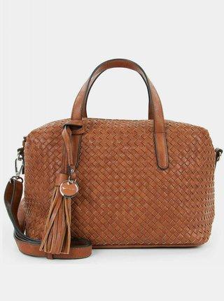 Hnedá vzorovaná veľká kabelka s ozdobným strapcom Tamaris