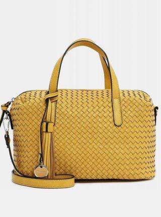 Žltá vzorovaná veľká kabelka s ozdobným strapcom Tamaris