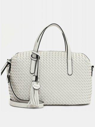 Biela vzorovaná veľká kabelka s ozdobným strapcom Tamaris