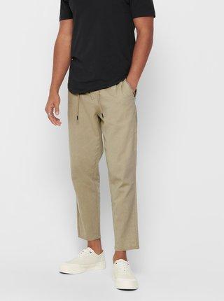 Béžové skrátené ľanové nohavice ONLY & SONS Leo