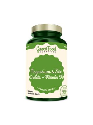 GreenFood Nutrition GreenFood Hořčík + Zinek Cheláty a Vitamín D3 90 kapslí