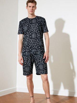 Černé pánské vzorované pyžamo Trendyol