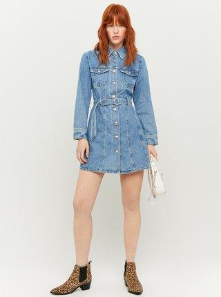 Modré rifľové košeľové šaty s remienkom TALLY WEiJL