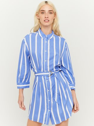 Modré pruhované košilové šaty s páskem TALLY WEiJL