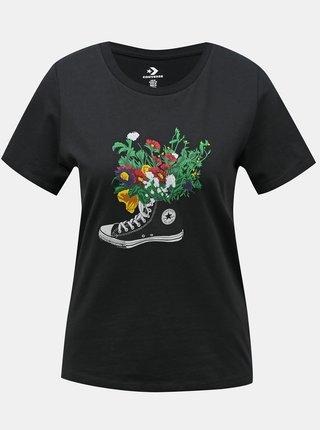 Converse čierne tričko Flowers Are Blooming